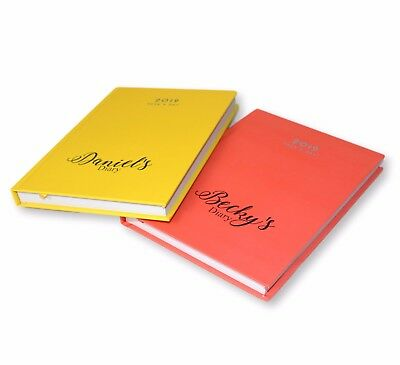 Personalised A5 Hardback 2019 Page A Day Diary Custom Name / Message Coloured