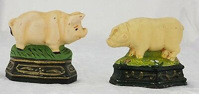 Antique Cast Iron Similar Pair of Pigs Metal Heavy Door Stops or Book Ends Pig
