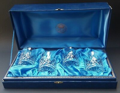 Four Boxed Thomas Webb Crystal Whisky Tumblers