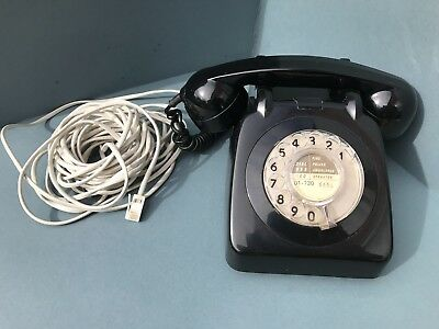 Retro Black GPO BT 706F 1966 Dial Telephone Converted long cable (706L AEG66/2A)