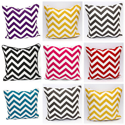 New 100% Cotton Printed Chevron Zigzag Design Cushion Covers 18x18'' Size