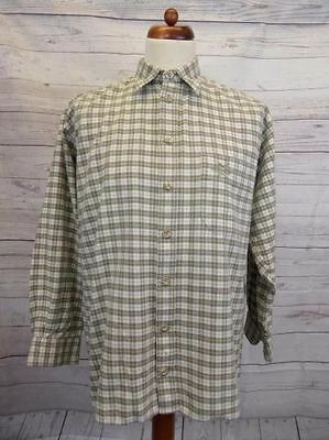 Long Sleeve European Country Check Thick Cotton Vtg Shirt Indie Hipster -L- gw16