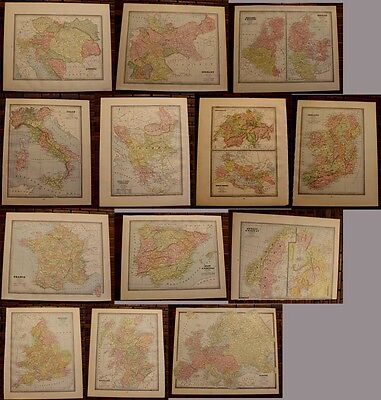 1885-1904 Over 50+ Detailed Antique Color Maps of Continents, Countries & States