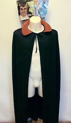 Halloween Mens Ladies Vampire Dracula Vlad Cloak Fangs Wig Fancy Dress Costume