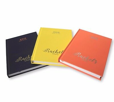 Personalised A5 Hardback 2019 Gold Silver Foil Page A Day Diary Name / Message