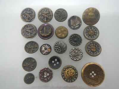Vintage Antique Buttons French Victorian Picture Steel Brass Iron MOP~ Qty 21