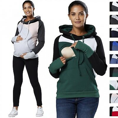 Happy Mama Women's Maternity Nursing Hoodie Top Colour Block Long Sleeve 507p