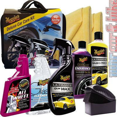 Meguiar's Deluxe Car Care Kit Wash&Wax Quick Wax Wheel Cleaner Tire Gel + Tasche