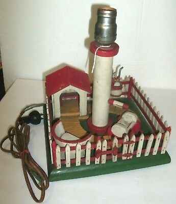 Vintage Handmade Picket Fence Garden Scene Lamp, Gazebo,water Pump,bucket,seat,w