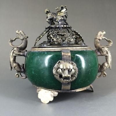 Collectible Decorated Old Jade& Tibet Silver Incense Burner b01