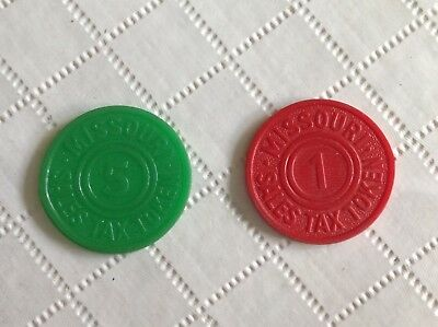 Missouri Sales Tax Tokens 1 & 5 , 2 Tokens for 1 Price