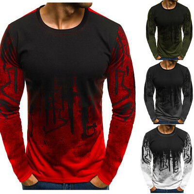 Men's Slim Fit Casual Long Sleeve Muscle Tee T-shirt Gym Autumn Blouse Tops New