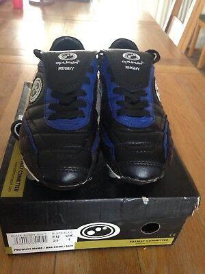 OPTIMUM BLAZE BOYS RUGBY BOOTS -  SIZE 1 - Used Black /Blue