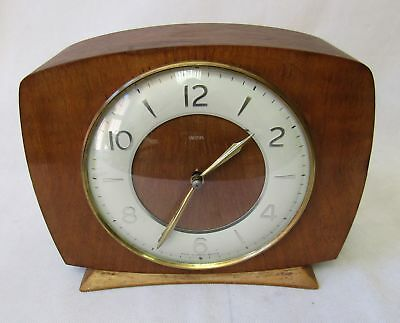 Vintage 1950s Smiths 8 Day Wind Up Chime Mantle Clock Beech Wood Key Working