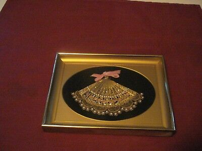 Antique/Vtg Small Gold Tone Hand Fan W/ Lace, Beads/Sequence Gold Metal Frame