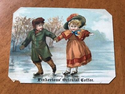 1800's Trade Card Christmas Card Pinkertons Oriental Coffee Antique Advertising