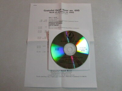 Grateful Dead Hour #695 Week Of January 14, 2002 Radio Promo Only Cd Cue Sheet
