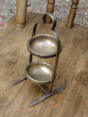 ANTIQUE EPNS SILVERPLATE SWIVEL TEA STRAINER&CATCH DISH-MULTI POUR 360o ROTATING