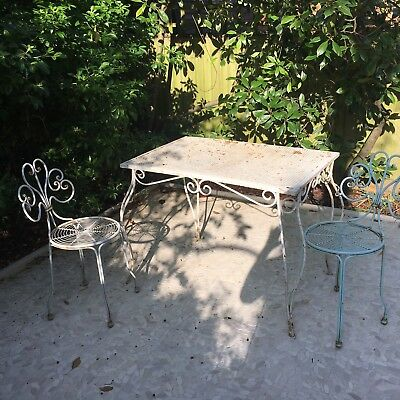 Genuine Vintage Antique French Folding Metal Garden Set Table & 2 Chairs White