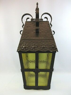 Vintage French Country Outdoor Porch Light Sconce Textured Amber Glass Large 2'