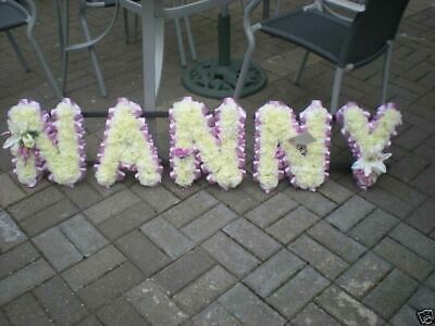 Nanny Artificial Silk Funeral Flower Any 5 Letter Wreath Memorial Name Tribute