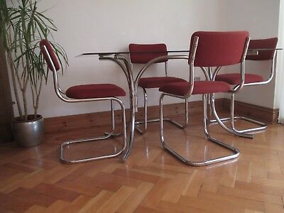 Vintage Retro 1970 S Dining Table Chairs Chrome Smoked Glass Red Draylon 120 00 Picclick Uk