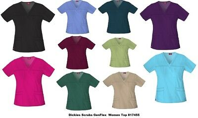 Dickies Gen Flex Scrubs Top 817455 Youtility Junior Fit V-Neck  All sizes Colors
