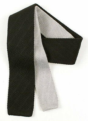 Mens Knitted Tie Waffle Knit Black Grey Cotton Skinny Slim