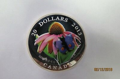 2013 Canada $20 Purple Coneflower And Venetian Glass Butterfly 1 Oz Silver Coin