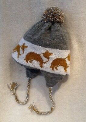 ROUGH COLLIE dog NEW knitted lined MID GREY ADULT TRAPPER EAR FLAP HAT