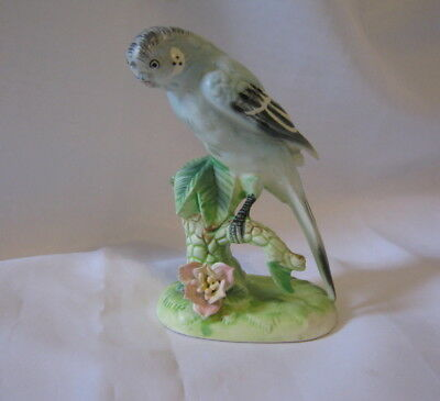 "Vintage Ceramic Blue Parakeet Bird On Plant 5.25"" Figurine Japan 97 (1B)"