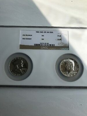 """1963 Franklin 1964 Kennedy NGC """"The End of an Era Proof"""" Graded PF 68 Coins"""