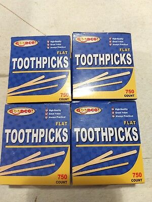 Wooden Flat Toothpicks 4-pack (3000 Total)