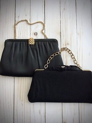 Vintage Black Evening Bags - Lot of 2 - Formal Black Clutches - Evening Bags