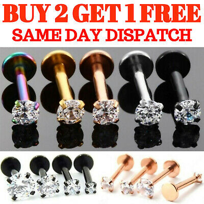 Labret Monroe Tragus Bar Helix Cartilage Ear Lip Stud Piercing Gem