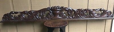 Antique Large Rococo Hand Carved Fruit Basket & Acanthus Leaf Wood Pediment, 70""