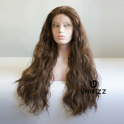 """Fashion Women 24"""" Anime Cosplay Long Curly Lace Front Hair Brown Lolita Wig+Cap"""