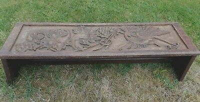 Antique Early 19thC Carved Panels Made Into Low Bench Dragon Fruit Flowers Welsh
