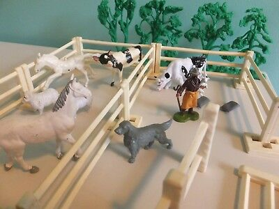 Britains Farm Toy Lot Fence Horse, sheep, Cows, Shepard 1971