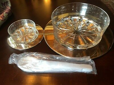 Godinger 12pc Crystal And Silver Plated Salad Set. Bowls/Trays/Salad Tossers