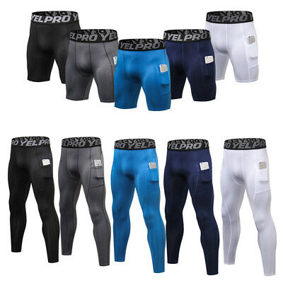 Men's Compression Pants Athletic Running Training Gym Shorts with Pocket Bottoms