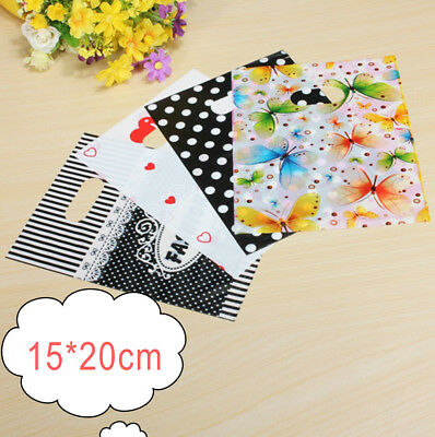 100PCS Colorful Printing Plastic Gift Decorated Packing Shopping Bag 15X20CM zh