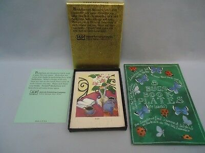 Antioch Sticker Bookplates Tea Book Vase 21 in opened box + 7 Butterfly Ladybugs