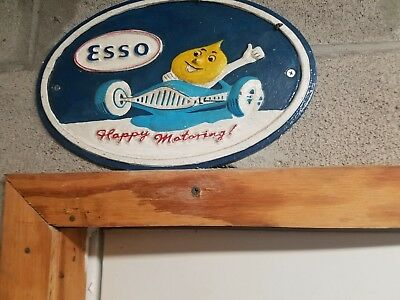 ESSO LUBRICATING OIL Cast Iron Sign AUTOMOBILE Gas & Oil DECOR