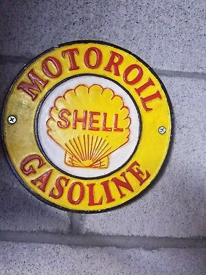 """Solid Cast Iron """"SHELL"""" Gas & Motor Oil Service Station Wall Plaque Sign"""
