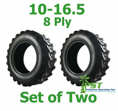 Set Of Two 10X16.5 Skid Steer Tire 10-16.5 Power King Ldr+ - Free Shipping