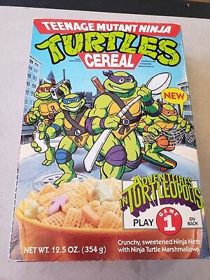 Vintage Teenage Mutant Ninja Turtles Cereal Box W/ Complete Game Empty Ralston
