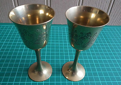 Two Small Vintage Engraved EPNS Goblets: Plate Loss / Good Condition