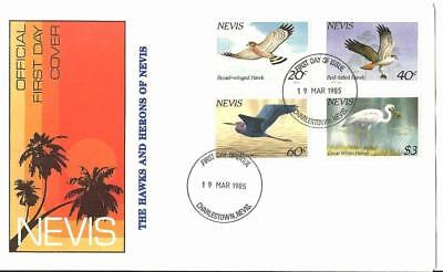 Nevis, Hawks and Herons #403-406. First Day Cover / F.D.C. 1985