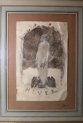 antique original 18th century A. Gobert figural ink drawing titled Hiver framed